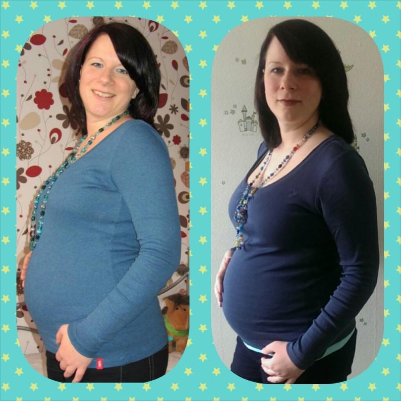 Links meine erste Schwangerschaft, rechts der aktuelle Bauch!